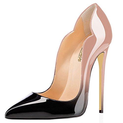 f8c2881600be3 MODEMOVEN Women's Beige Black Sexy Point Toe High Heels,Patent Leather  Pumps,Wedding Dress Shoes,Cute Evening Stilettos - 9.5 M US