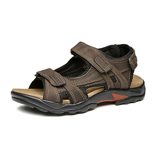Juleya Mens Sandals - Durable Summer Shoes, Sturdy Grip, Cushioned Footbed, Flip Flops - for Travelling, Walking, Trekking, Hiking Brown