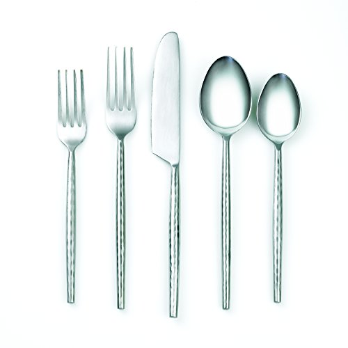 41IeWbArjuL - Cambridge Silversmiths 20 Piece Indira Rani Satin Flatware Set, Silver