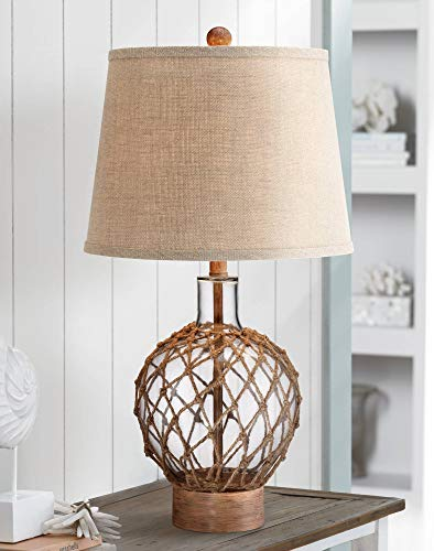 Nautical Table Lamp Clear Glass Rope Net Burlap Drum Shade for Living Room Family Bedroom Bedside Nightstand - 360 Lighting