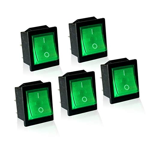 (MGI SpeedWare 12vDC Neon Lighted Mini Rocker Switches On-Off DPST 5 Pack (Green))