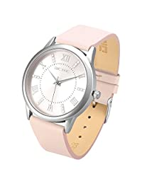 Dictac Wristwatch Lady Analg Quartz Blue Leather Strap 98ft Waterproof Classic Round Watch (pink)