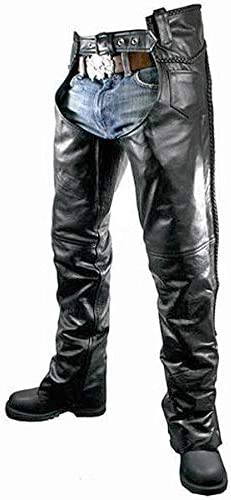 Xelement B7555 Classic Mens Black Braided Elastic Fit Leather Chaps 38