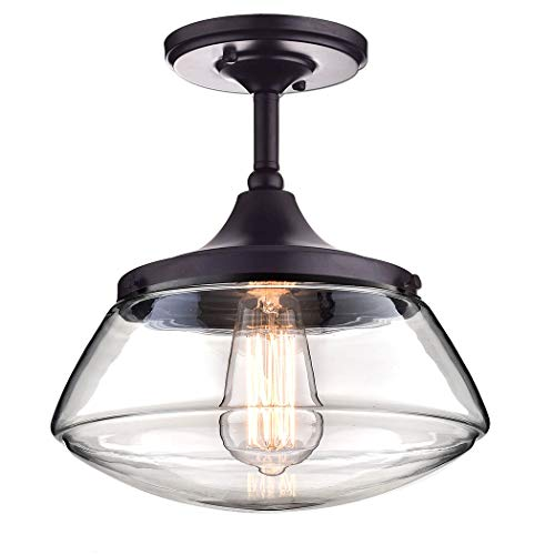 CLAXY Ecopower Vintage Metal & Glass Ceiling Light 1-Lights Pendant Lighting - Lighting Flush Bronze