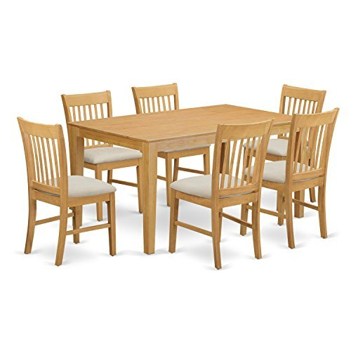 - East West Furniture CANO7-OAK-C 7 PC Small Kitchen Table Set - Dining Table and 6 Dining Chairs