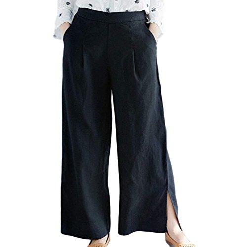 Lino Dritti Larghi Moda Donna Elastica Pants Eleganti Libero Spacco Nero Tasche Lunga Vita Estivi High Con Baggy Pantaloni Primaverile Waist Damigella raTwqn5rF