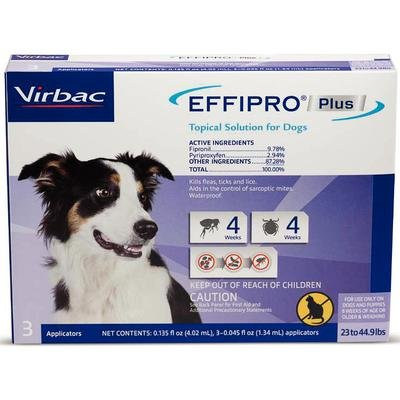 Effipro Plus Topical Solutions for Medium Dogs 23 to 44.9 lbs 3 Doses Purple