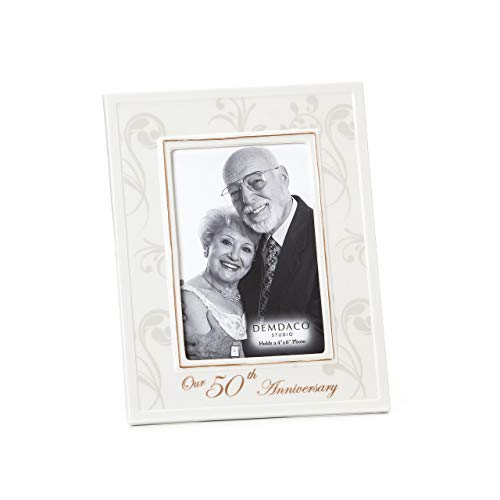 DEMDACO 50th Anniversary 7.25 x 9.25 Porcelain Picture Frame