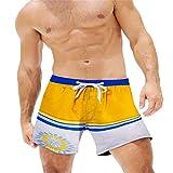 NUWFOR Fashion Men Breathable Trunks Pants Beach Print Running Swimming Underwear(Yellow,US L Waist:36-39'')