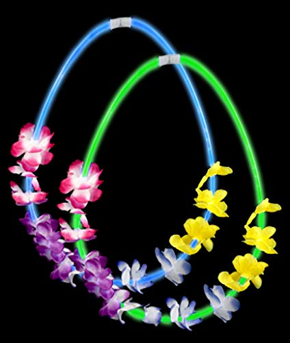 Fun Central AC890 22 Inch Flower Lei Glow Necklaces - Assorted - -