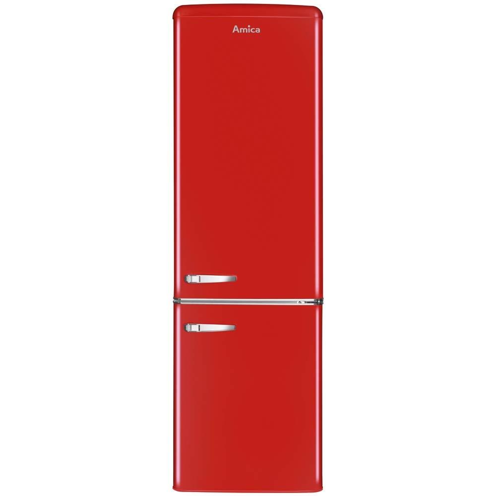 Amica FKR29653B Freestanding Black Retro Fridge Freezer, 55cm wide, A+ Energy Rating, LED Light, 41dB Noise Level