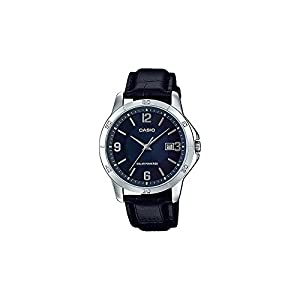 41IeZ JnRLL. SS300  - Casio MTP-VS02L-2A Men's Standard Solar Leather Band Blue Dial Date Watch