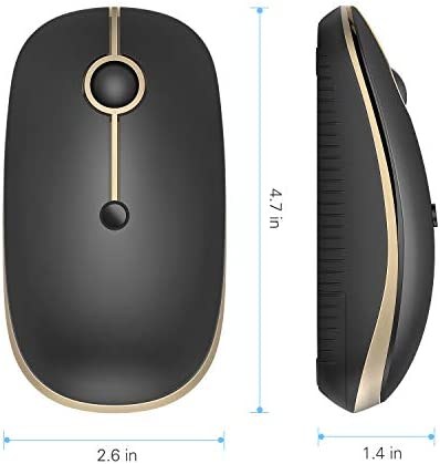 Bluetooth Mouse, Jelly Comb MS003 Slim Dual Mode(Bluetooth 4.0 + USB) 2.4GHz Wireless Bluetooth Mouse for Laptop, iPad, MacBook, PC- For Windows 8.0/ MacOS 10.10/ iPad OS 13/ Android 4.3 or Above