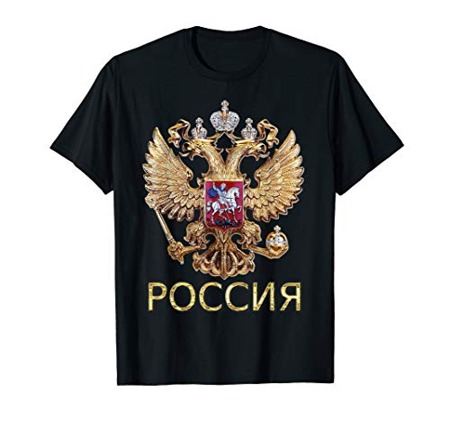Russia Coat Of Arms Russian Flag In Russian Language T-Shirt ()