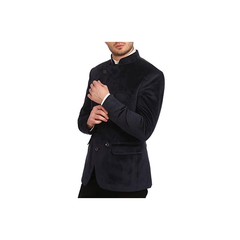 41IeZX3If5L. SS768  - Wintage Men's Velvet Grandad Collar Blazer