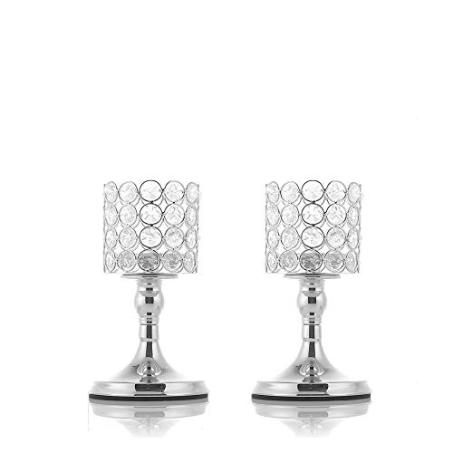 VINCIGANT Silver Crystal Tea Light Candlestick Holders for Mothers Day Coffee Table Decorative Centerpieces, 8 Inches Tall