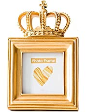 Beautiful 3 Inch European Vintage Crown Resin Photo Frame Birthday Wedding Home Office Decoration 2 Pack Tabletop Picture Frames (Color : Gold, Size : 3 inches) (Color : Gold, Size : 3 inches)