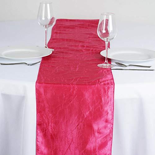 Mikash 12 x 108 Taffeta Crinkle Table TOP Runner Linens Wedding Party Decorations | Model WDDNGDCRTN - 13440 | ()