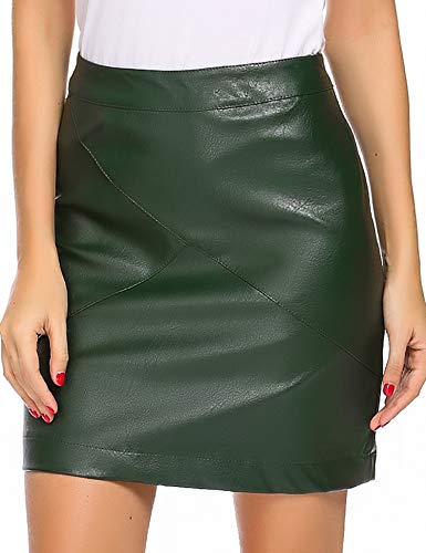 Zeagoo Women Classic High Waisted Faux Leather Bodycon Slim Mini Pencil Skirt(Green S)
