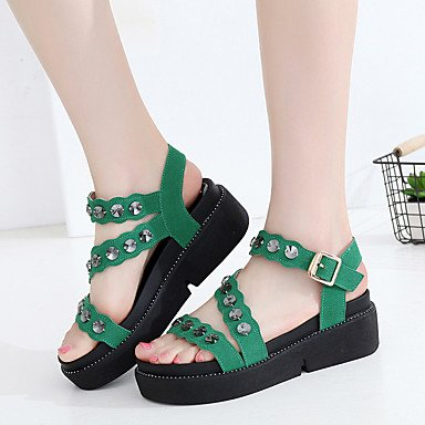 1 Green Sandals CN40 US8 Casual Gladiator 3 Gladiator Wedge Leather Heel RTRY 5 UK6 Summer Grain 1In Rhinestone EU39 Ruby 4In Black Women'S 5 Full 75ASxqwa