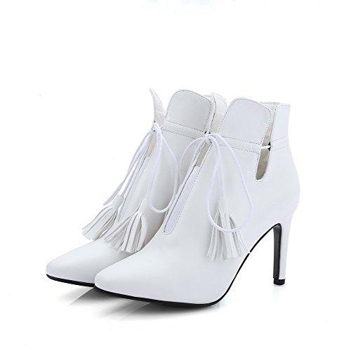 Allhqfashion Femmes Solides Talons Pointus Fermé Toe Pu Lacets Bottes Blanc