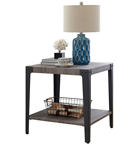 O&K Furniture Industrial Accent End Table with Storage Shelf, Metal Night Stand for Living Room and Bedroom, Gray(1-Pcs) by O&K Furniture (Image #7)
