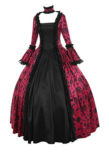 FEDULK Womens Fall Winter Medieval Gothic Retro Dress Floral Print A-line Flared Ball Prom Gowns Dress(Hot Pink, XXXXX-Large) (Scream Queens Red Devil Mask For Sale)