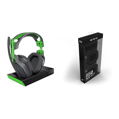 ASTRO Gaming - A50 Wireless Dolby Gaming Headset - Black/Green +  A50 Noise-Isolating Mod Kit - Xbox One + PC