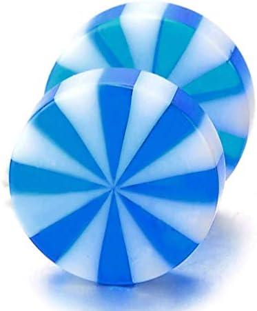 Bouchon Faux Cheater Fake Acier Homme Femme Bleu Blanc Ventilateur Rayons de Soleil Sunburst Cercle Boucles doreilles