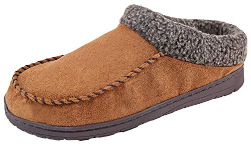 (Urban Fox Slippers for Men - Micro Suede Jackson | House Shoes I Rubber-Sole | Faux Fur Men's Slippers Chestnut 11-12)
