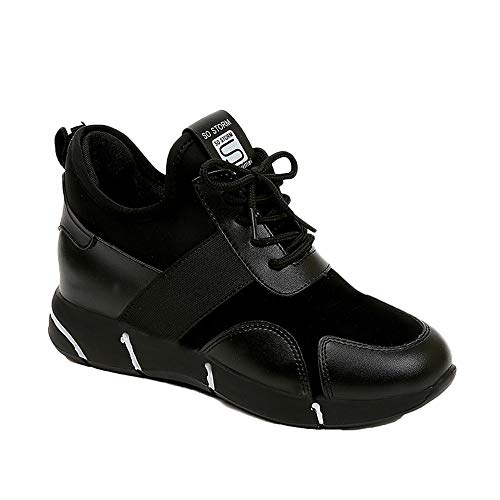 Platform Trainers Bottom 5 Shoes Fashion Thick 7 Shoes 2 Casual Black Hiking Breathable Sport Women's Shoes Flat Sneakers Size Slip Toe Round Running on Shoes 5 p7xAqwnBq