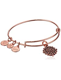 Alex and Ani Women's Compass Rose Gold Charm Bangle Bracelet, Expandable