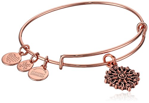 Alex and Ani Women's Compass Rose Gold Charm Bangle Bracelet, Expandable