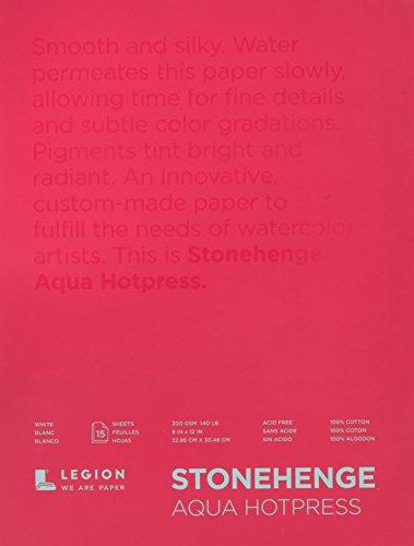 Legion Stonehenge Aqua Watercolor Block, 140 Pound Hot Press, 9 X 12 inches, White, 15 Sheets -