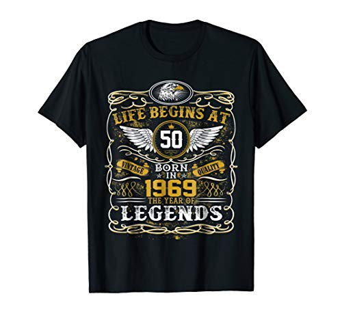 50th Birthday Gift T-Shirt - Life Begins at 50 Born in 1969