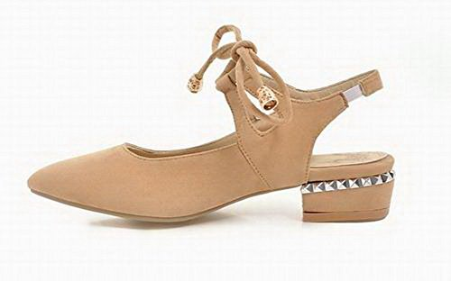 Solid up Sandals Low apricot Lace Toe VogueZone009 CCALP014556 Frosted Heels Women Pointed 4qWO65aw