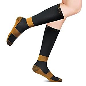 Compression Socks with Copper Fibers for Men and Women, Ideal Gift Sock for Edema, Varicose Veins, Shin Splints, Flying, Travel, Pregnancy, Nurses, Running (S-M/5-9.5(1 pair))