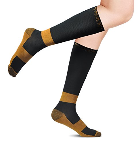 MELERIO Compression Sock with Copper Fibers for Men and Women, Ideal Gift Sock for Edema, Varicose Veins, Shin Splints, Flying, Travel, Pregnancy, Nurses, Running