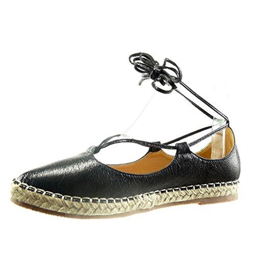 Angkorly - damen Schuhe Sandalen Espadrilles - glänzende - Spitze - Seil Blockabsatz 2 CM - Schwarz