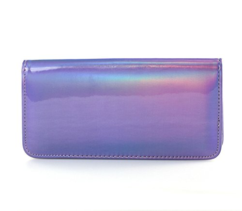 Leather Purple Purse Hologram Pu Wallet Flada Zipper Women's Clutch Around HXqxzFSw