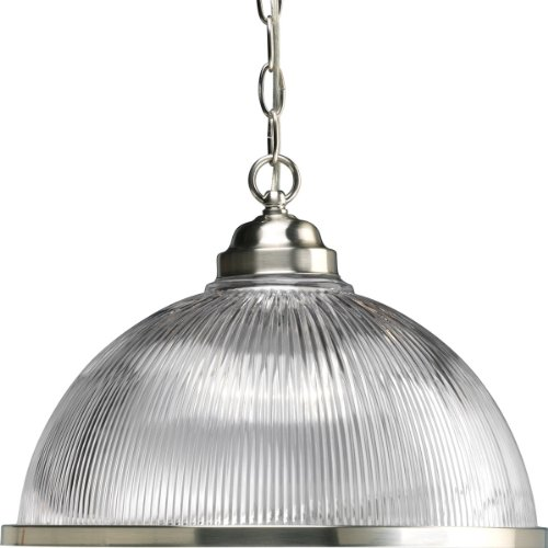 Progress Lighting P5103-09 1-Light Chain-Hung Prismatic Glass Dome, Brushed Nickel