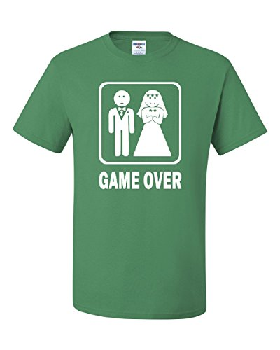 Game Over Funny T-Shirt Groom and Bride Wedding Tee Shirt Green M
