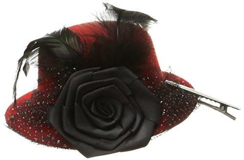 Flower Embellished Hat (HMS Women's Embellished Top Hat with Flower, Black, One Size)