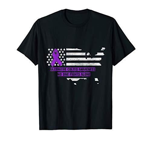 Ulcerative Colitis Awareness American Flag T Shirt