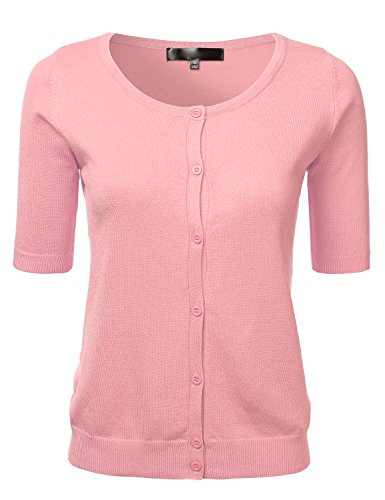 Womens Button Down Fitted Short Sleeve Fine Knit Top Cardigan Sweater Pink M ()