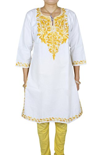 Indian Tunic Top Womens Kurti Yellow Floral - Embroidered Blouse - 40 Inch 'L'