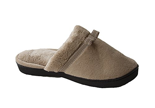 Bow Clog (Isotoner Women's Milly Clog with Bow Trim Detail, Taupe, 7.5-8)
