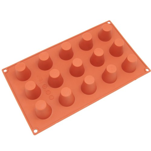Freshware SM-105RD 15-Cavity Silicone Mini Popover Muffin, Brownie, Cornbread, Cheesecake, Panna Cotta, Pudding and Jello Shot Mold -