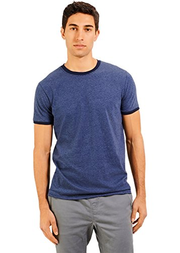 Russell Athletic Men's Essential Cotton Ringer T-Shirt, Vintage Navy, Large -