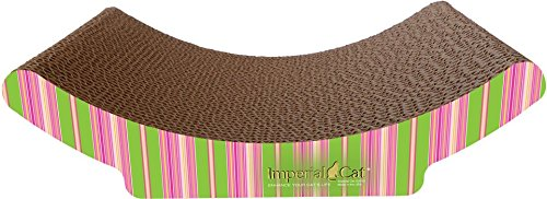 Imperial Cat Cozy Curl Scratch 'n Shape, Pink and Lime Stripe